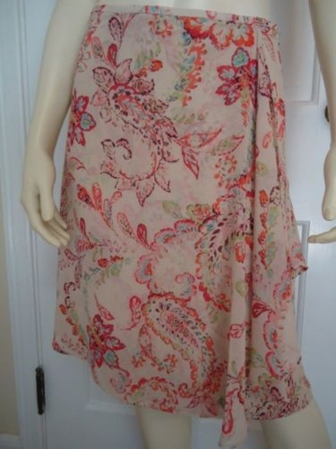 Ann Taylor Petites 2p Sheer Silk Faux Wrap Paisley Floral Lined Stunning Skirt Multi-Color Image 0