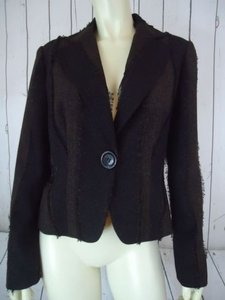 Other Lena Gabrielle Ny Blazer Brown Black Heather Fringe Poly Rayon Lined Boho Chic