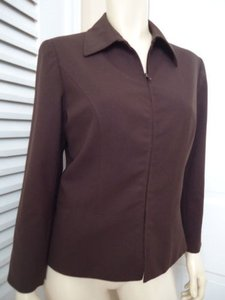 Lafayette 148 New York Lafayette 148 Ny Blazer Zip Front Brown Wool Stretch Blend Special Cut Chic