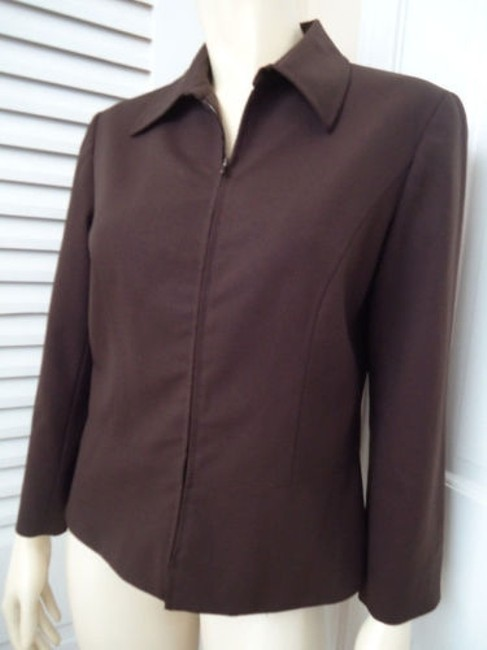 Lafayette 148 New York Lafayette 148 Ny Blazer Zip Front Brown Wool Stretch Blend Special Cut Chic Image 1
