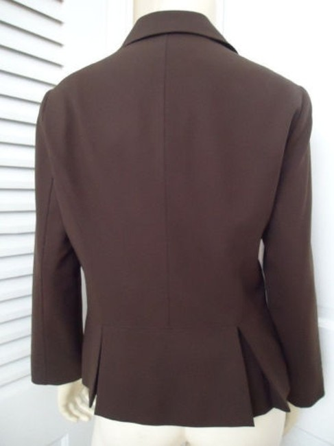 Lafayette 148 New York Lafayette 148 Ny Blazer Zip Front Brown Wool Stretch Blend Special Cut Chic Image 3