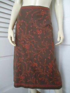 Ann Taylor LOFT Cotton Embroidered Straight Lined Boho Hippie Classy Skirt Beiges