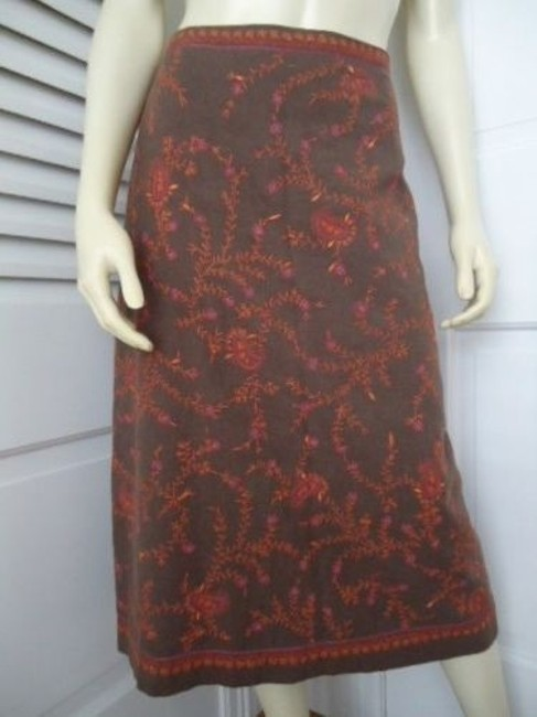 Ann Taylor LOFT Cotton Embroidered Straight Lined Boho Hippie Classy Skirt Beiges Image 1