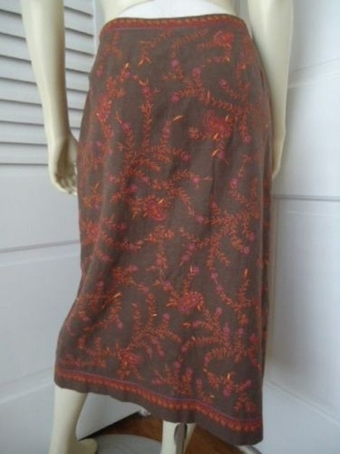 Ann Taylor LOFT Cotton Embroidered Straight Lined Boho Hippie Classy Skirt Beiges Image 3