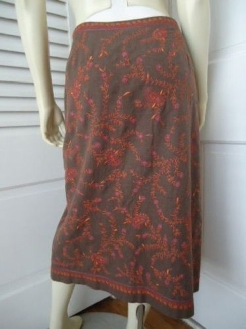 Ann Taylor LOFT Cotton Embroidered Straight Lined Boho Hippie Classy Skirt Beiges Image 4