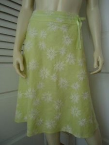 Other Ecologie Petite 6p Linen Citron Color Floral Embroidery Lined Classy Skirt Yellows