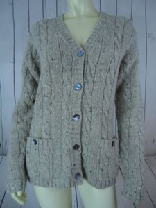 Ralph Lauren Taupe Wool Grandfather Cardigan Classic Sweater