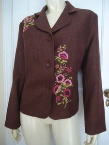 Other Drapers Damons Petites Floral Embroidery Blazer 10p Buttons Stunning Browns Jacket