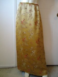 Citron Man In Garden Long Straight Gold Rayon Washable Classy Skirt Metallics