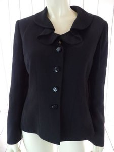 Other Tahari Petite Blazer 6p A.s. Levine Black Poly Stretch Button Front Ruffle Chic