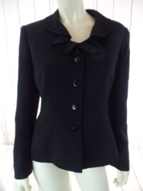 Other Tahari Petite Blazer 6p A.s. Levine Black Poly Stretch Button Front Ruffle Chic Image 1