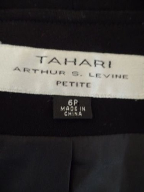 Other Tahari Petite Blazer 6p A.s. Levine Black Poly Stretch Button Front Ruffle Chic Image 11
