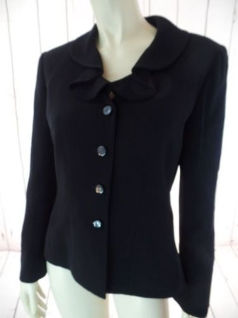 Other Tahari Petite Blazer 6p A.s. Levine Black Poly Stretch Button Front Ruffle Chic Image 2