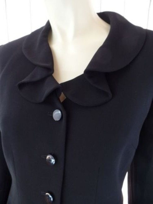Other Tahari Petite Blazer 6p A.s. Levine Black Poly Stretch Button Front Ruffle Chic Image 3