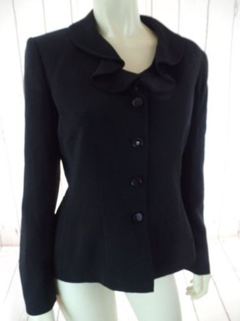 Other Tahari Petite Blazer 6p A.s. Levine Black Poly Stretch Button Front Ruffle Chic Image 4