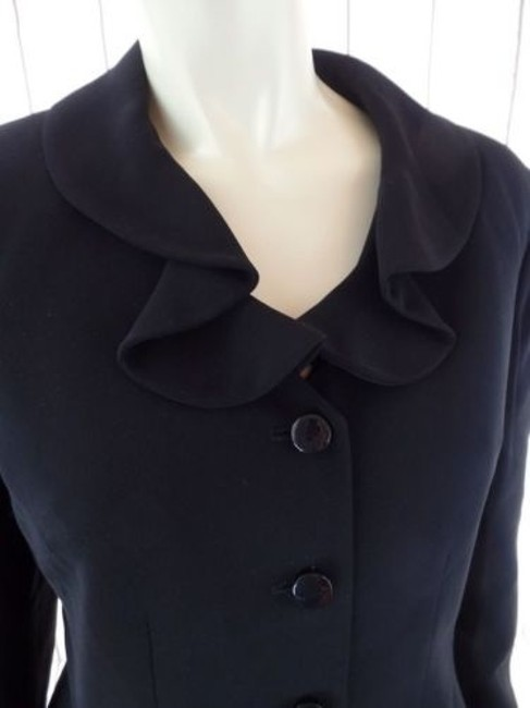 Other Tahari Petite Blazer 6p A.s. Levine Black Poly Stretch Button Front Ruffle Chic Image 5