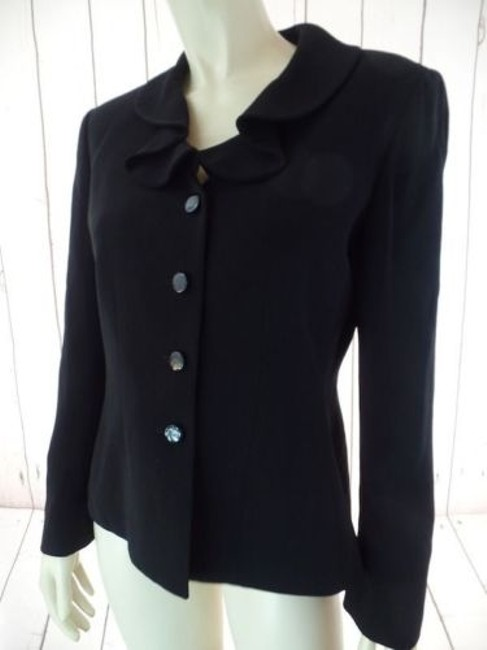 Other Tahari Petite Blazer 6p A.s. Levine Black Poly Stretch Button Front Ruffle Chic Image 6