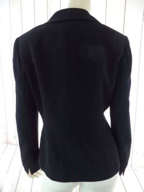 Other Tahari Petite Blazer 6p A.s. Levine Black Poly Stretch Button Front Ruffle Chic Image 7