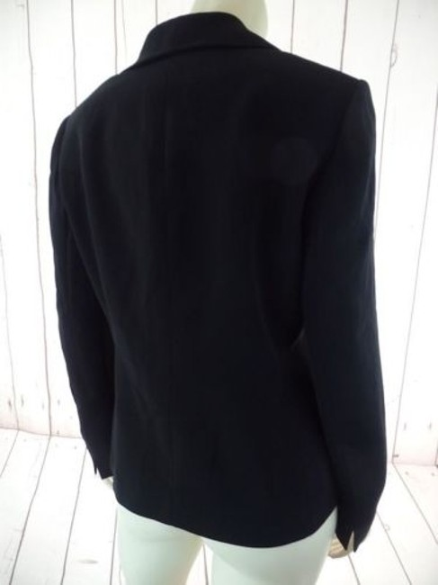 Other Tahari Petite Blazer 6p A.s. Levine Black Poly Stretch Button Front Ruffle Chic Image 8