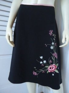 Jonathan Martin Jrs Stretch Poly Embroidery Unlined Retro Chic Skirt Blacks