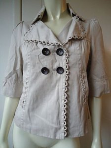 Miss Me Cotton Swing Double Breasted Retro Blazer Lined 34 Sleeve Cute Beiges Jacket