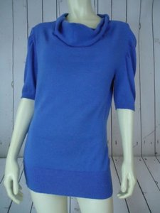 Banana Republic Blue Periwinkle Stretch Wool Cotton Blend Drape Cowl Sweater