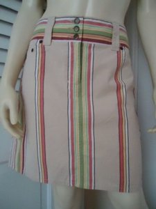 Ann Taylor LOFT Stretch Cotton Mod Retro Mini Button Zipper Fly Sweet Mini Skirt Multi-Color