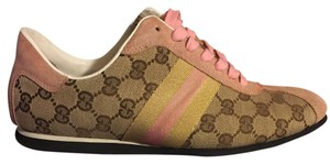 Gucci Sneakers Pink Gold Beige/Ebony Monogram with Rose/Gold Athletic