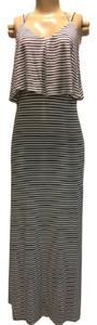 White/Black Striped Maxi Dress by Lemieux Maxi Striped Split
