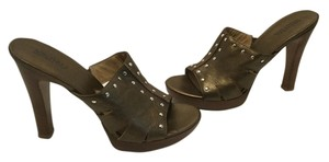 MICHAEL Michael Kors All Leather Silver Grommets Bronze Mules