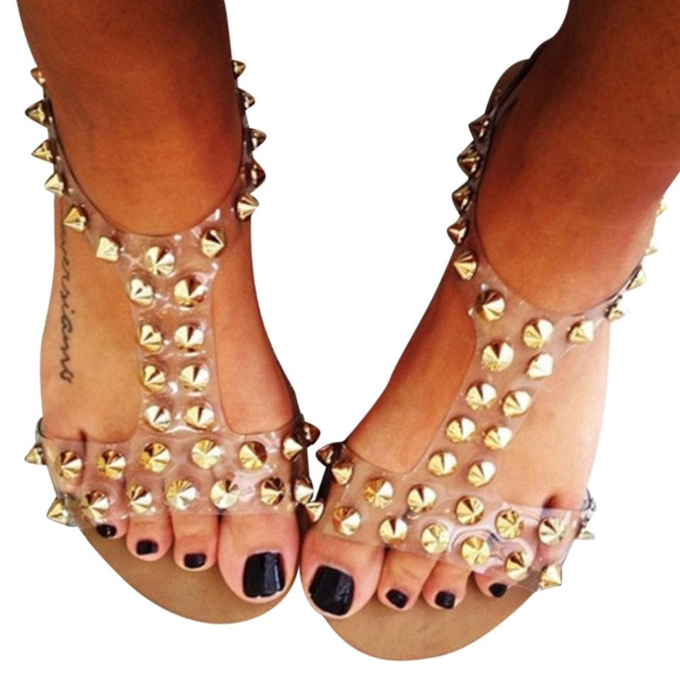 f18e42f388d3 Steve Madden Studded Stud Spikes Spiked Clear and Gold Sandals Image 0 ...