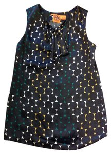 Tory Burch Multicolor Sleeveless Size 2 Top Black/Green/Gold Multicolor