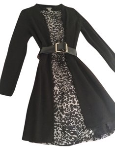 Ann Taylor Leopard Silk Twill Cardigan Dress