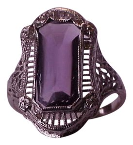 Antique Art Deco Unique 14k White Gold Genuine Amethyst Filigree Ring , early 1900s