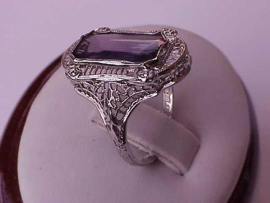 Other Antique Art Deco Unique 14k White Gold Genuine Amethyst Filigree Ring , early 1900s Image 1