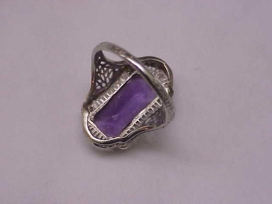 Other Antique Art Deco Unique 14k White Gold Genuine Amethyst Filigree Ring , early 1900s Image 2