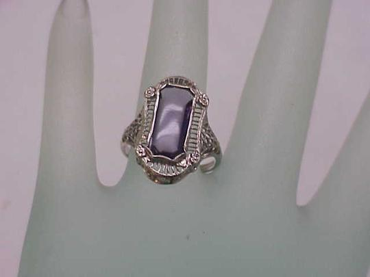 Other Antique Art Deco Unique 14k White Gold Genuine Amethyst Filigree Ring , early 1900s Image 4
