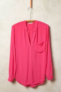 Anthropologie Summer Spring Cotton Button-up Flowy Button Down Shirt Pink/Fuschia