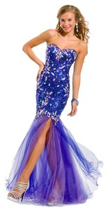 Party Time Formals Auth New Prom 6048 Size 6 Slit Strapless Glitter Sequins Dress