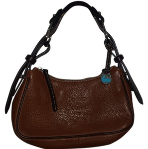 Dooney & Bourke Leather Classy Lady-like Satchel in saddle brown and dark brown