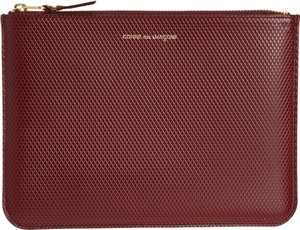 Comme des Garçons Comme des Garcons Luxury Embossed Leather Large Zip Pouch in Burgundy Red