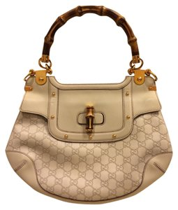 Gucci Monogram Designer Handbag Bamboo Handle Hobo Vintage Rare Tote Clutch Louis Vuitton Prada Satchel in White Beige Gold
