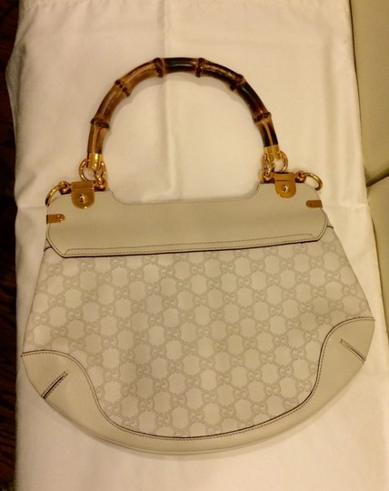 Gucci Monogram Designer Purse Hand Shoulder Bamboo Handle Hobo Vintage Tote Guccissima Clutch Louis Vuitton Prada Satchel in White Beige Gold