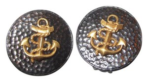 Julie Vos New Textured Black with Gold Anchor Nautical Clip Earrings