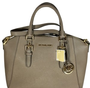 Michael Kors Saffiano Tote Crossbody Satchel in Taupe