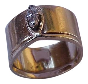 Estate Vintage 14k Yellow Gold Wide Engagment .25ct Diamond Ring,1950's