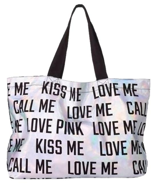 Item - Bag Pink Love Kiss Call Me Silver Cotton Tote