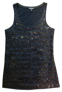 Express Lace Sequin Top Black
