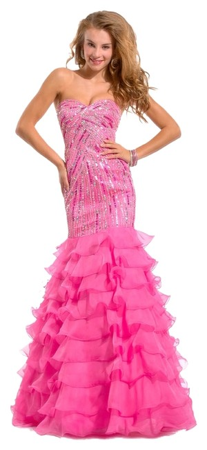 Party Time Formals Auth New Prom 6131 Size 2 Strapless Trumpet Layered Dress