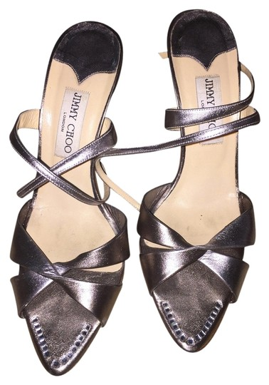 Jimmy Choo Silver and Pewter Sandals